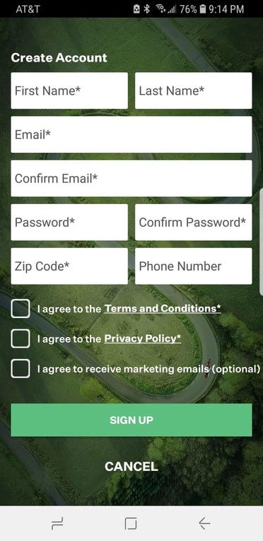 RumbleOn free motorcycle app account security.