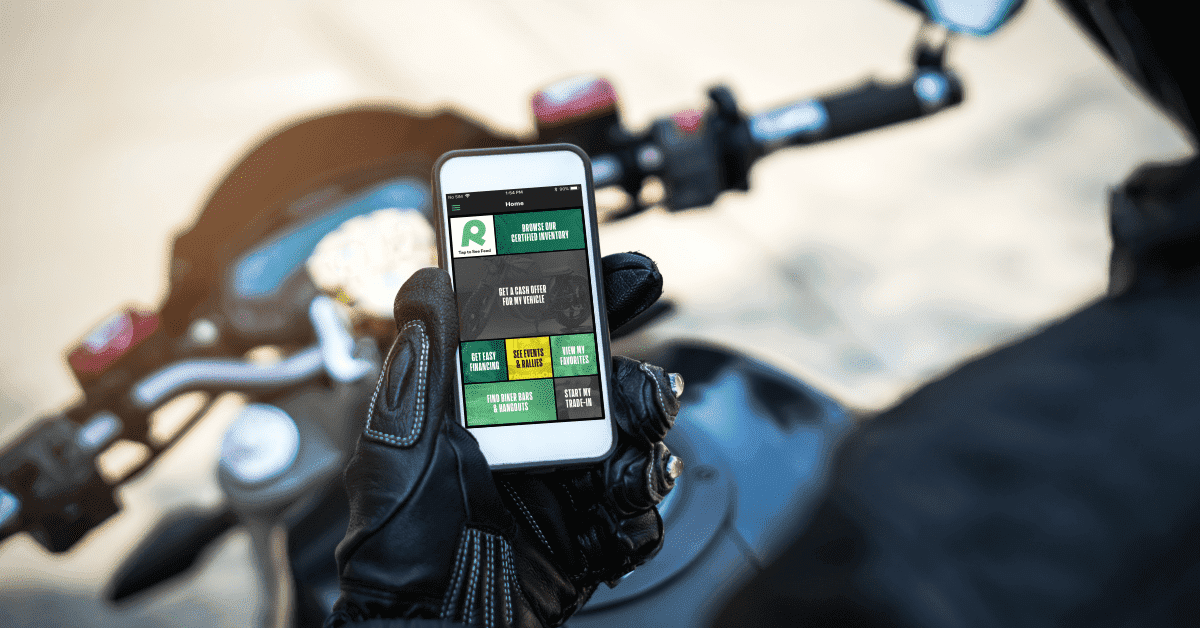 RumbleOn App is a free motorcycle app for iOS and Android devices