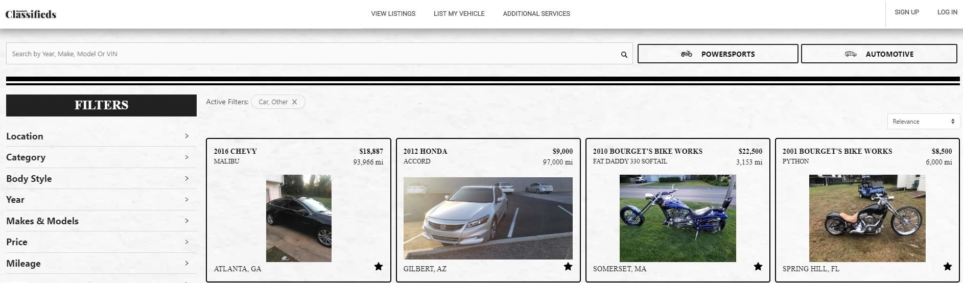 Browse Listings of Cars for Sale