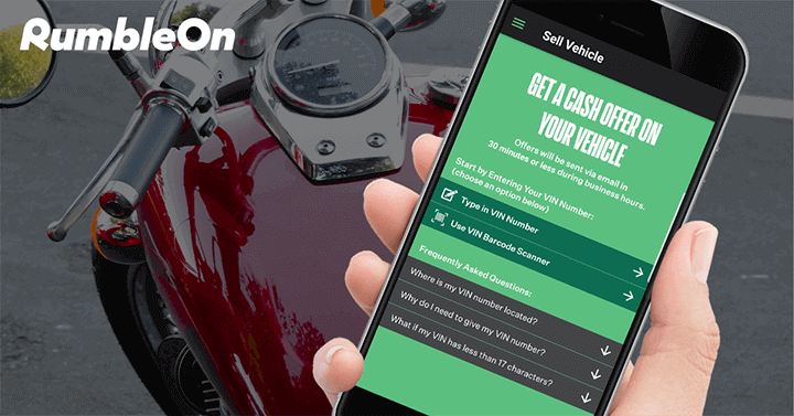 Trade a motorcycle online with RumbleOn