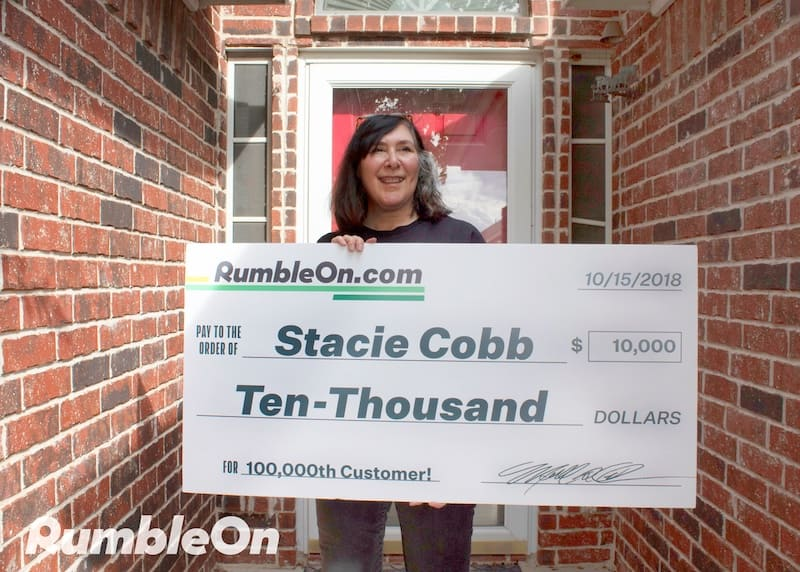 Stacie Cobb was a lucky winner of a $10,000 cash prize from RumbleOn when she sold a motorcycle